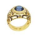 Кольцо с бриллиантами, сапфирами и топазом, Золото 750