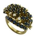 Кольцо с сапфирами и бриллиантами, Золото 750