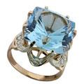 Кольцо с топазом и бриллиантами, Золото 585