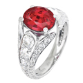 Кольцо с бриллиантами и рубином , Золото 585