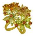 Кольцо с цветными камнями, Золото 750