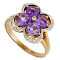 Кольцо с аметистами и бриллиантами, Золото 585