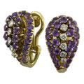 Серьги с аметистами и бриллиантами, Золото 750