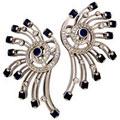 Серьги с сапфирами и бриллиантами, Золото 585