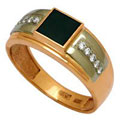 Кольцо с бриллиантами и гематитом, Золото 585