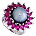 Кольцо с жемчугом, бриллиантами и рубинами, Золото 585