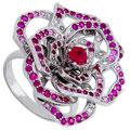 Кольцо с бриллиантами и драгоценными цветными вставками, Золото 585