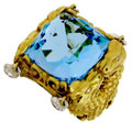 Кольцо с бриллиантами и топазом, Золото 750